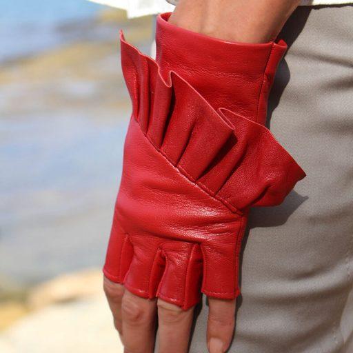 mitones-guantes-elegantes-piel-cuero-Giorno-rojo-Armèlle-Spain-2
