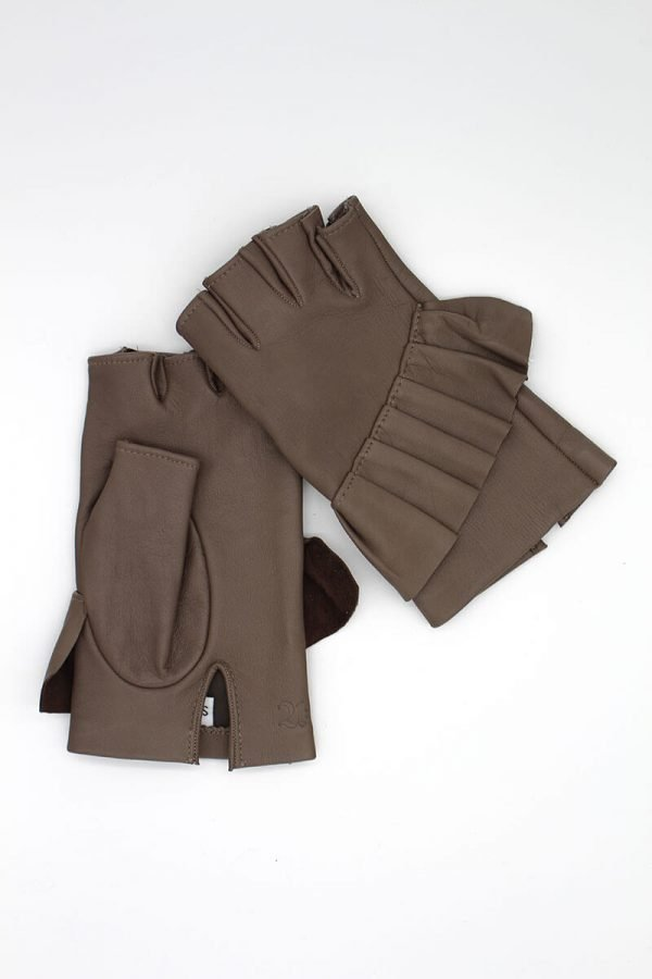 Fingerless-gloves-leather-Giorno-taupe-Spain-Armèlle-1